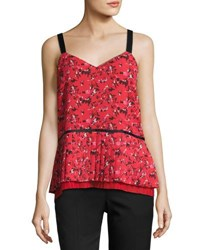 Grey By Jason Wu V Neck Pleated Abstract Print Silk Cami Red