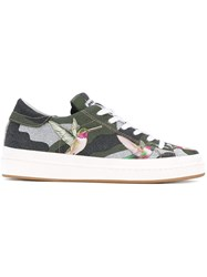 Philippe Model Hummingbird Print Sneakers Women Cotton Leather Nylon Rubber 37 Green