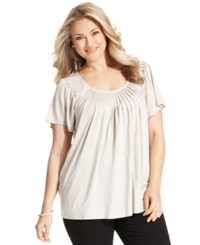 Style And Co. Plus Size Short Sleeve Pleated Top Stonewall