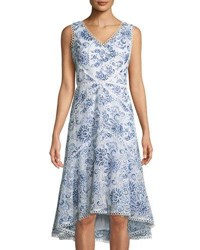 Neiman Marcus Embroidered Fit And Flare Midi Dress Blue White