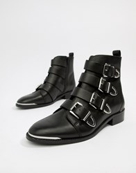 Office Archive Four Buckle Black Leather Ankle Boots Black Leather