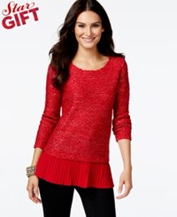 Alfani Chiffon Hem Sequin Knit Sweater Only At Macy's New Red Am