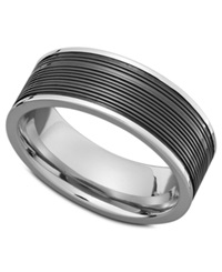 Triton Men's Stainless Steel Ring Black Pvd Center Band