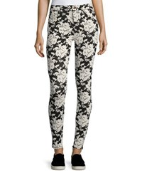7 For All Mankind Floral Embroidered Skinny Jeans Black