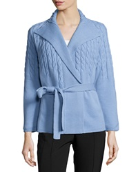 Lafayette 148 New York Long Sleeve Cable Knit Belted Cardigan Twilight