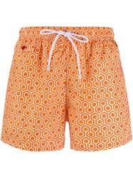 Kiton Printed Swim Shorts Orange