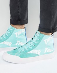 Huf X Thrasher Hi Top Trainers With All Over Logo Mint Green