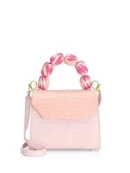 Nancy Gonzalez Lily Medium Pink Crocodile Satchel