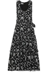 Co Tiered Floral Jacquard Midi Dress Black