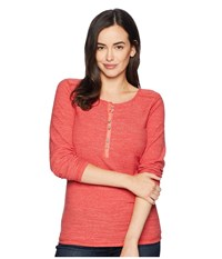 Ariat Alpine Henley Top Baked Apple Long Sleeve Pullover Red