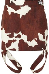 Burberry Printed Cotton And Linen Blend Mini Skirt Brown