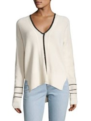 Derek Lam Cotton And Cashmere Rib Knit Sweater Ivory Black