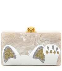 Edie Parker Jean Beckoning Cat Box Clutch Beige