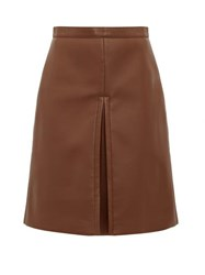 Burberry Inverted Pleat Faux Leather Skirt Brown
