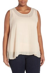 Plus Size Women's Melissa Mccarthy Seven7 Pleat Back High Low Tank Blush