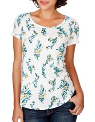 Lucky Brand Floral Vines Tee Marshmallow