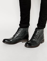 Ikon London Military Boots In Black Leather Black