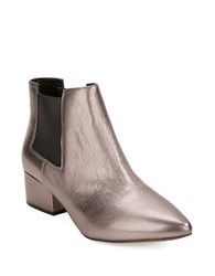 French Connection Ronan Leather Point Toe Booties Pewter