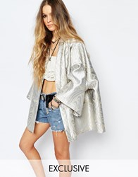 Reclaimed Vintage Belted Metallic Festival Kimono Jacket Grey