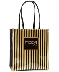 Macy's Thin Striped Tote Black Gold