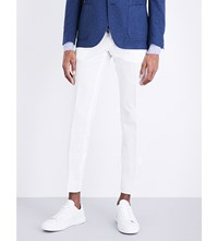 Lardini Regular Fit Tapered Cotton And Silk Blend Trousers White