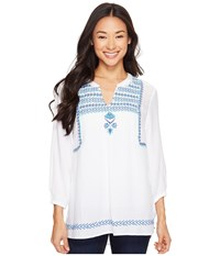 Hatley Embroidered Blouse White Royal Turquoise Lariat Women's Blouse