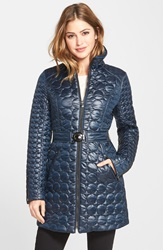 Laundry By Shelli Segal Belted Quilted Coat Regular And Petite Navy