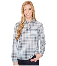The North Face Barilles Pullover Shirt Dusty Blue Gingham Women's Long Sleeve Button Up