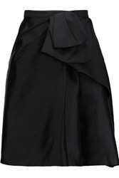 Raoul Bice Bow Pleated Silk Blend Mini Skirt Black