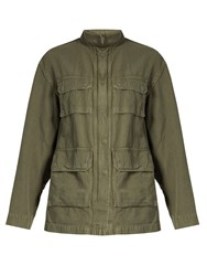 Nili Lotan Lori Cotton And Linen Blend Twill Jacket Khaki