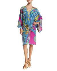 Etro Butterfly Paisley Print Tunic Coverup Navy