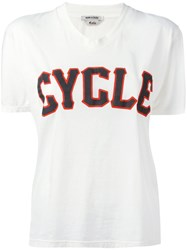 Cycle V Neck Print T Shirt White