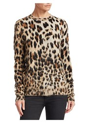 Saint Laurent Leopard Print Knit Crewneck Sweater Multi