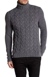 Woolrich John Rich And Bros Cable Knit Turtleneck Sweater Gray