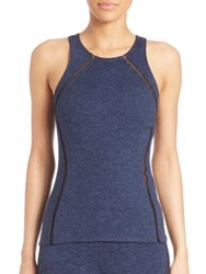 Heroine Sport Mesh Detailed Studio Tank Heather Navy
