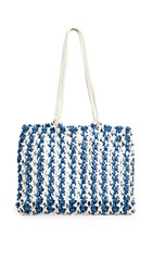 Clare V. Sandy Tote Blue Cream