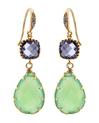 Indulgems Green Chalcedony And Purple Glass Station Teardrop Earrings