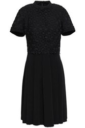 Mikael Aghal Woman Layered Crocheted Cady Dress Black