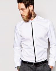 Noose And Monkey Shirt With Tipped Placket In Skinny Fit White