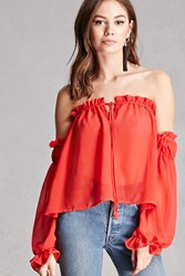Forever 21 Chiffon Off The Shoulder Top