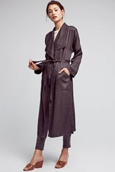 Anthropologie Trapunto Robe Coat Dark Grey