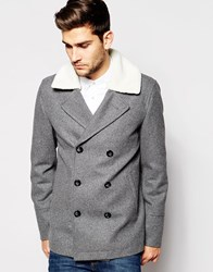 Asos Wool Mix Peacoat With Faux Shearling Collar In Light Grey Lightgrey