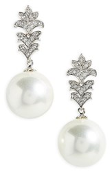 Nina Women's Imitation Pearl Drop Earrings Ivory Pearl Silver