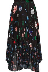 Markus Lupfer Lila Pleated Printed Chiffon Midi Skirt Black