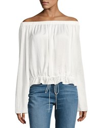 Theory Odettah Off The Shoulder Crepe Top White