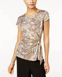 Msk Printed Side Tie Top Taupe Silver