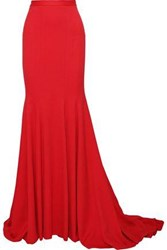 Brandon Maxwell Fluted Crepe Maxi Skirt Red