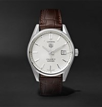 Tag Heuer Carrera Automatic 39Mm Steel And Alligator Watch White