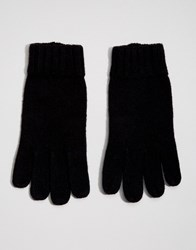 Dents Stirling Lambswool Glove With Leather Palm Black