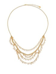 Chan Luu Crystal Charm Draped Multi Row Necklace Gold